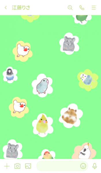 Cute party of parakeet parrot & hamster